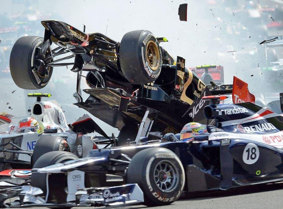 Romain Grosjean triggered a first-corner pile-up in the Belgian Grand Prix