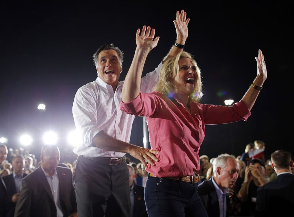 September 7, 2012: Republican presidential candidate and former Massachusetts Governor Mitt Romney and his wife Ann wave to the crowd at the end of a campaign rally in Nashua, New Hampshire.