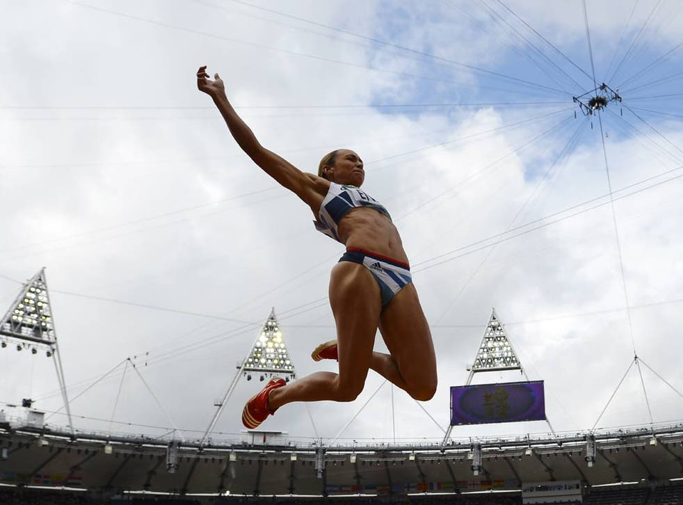 Jessica Ennis in action at the Olympic Stadium
