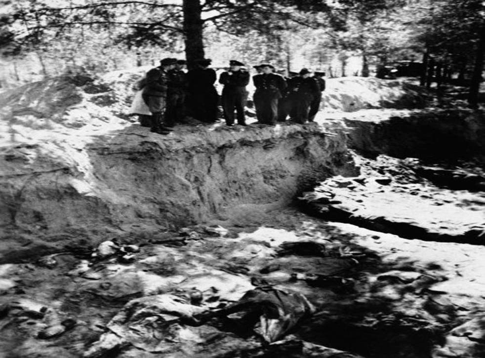 A partially emptied mass grave in the Katyn forest where a massacre of Polish prisoners of war took place