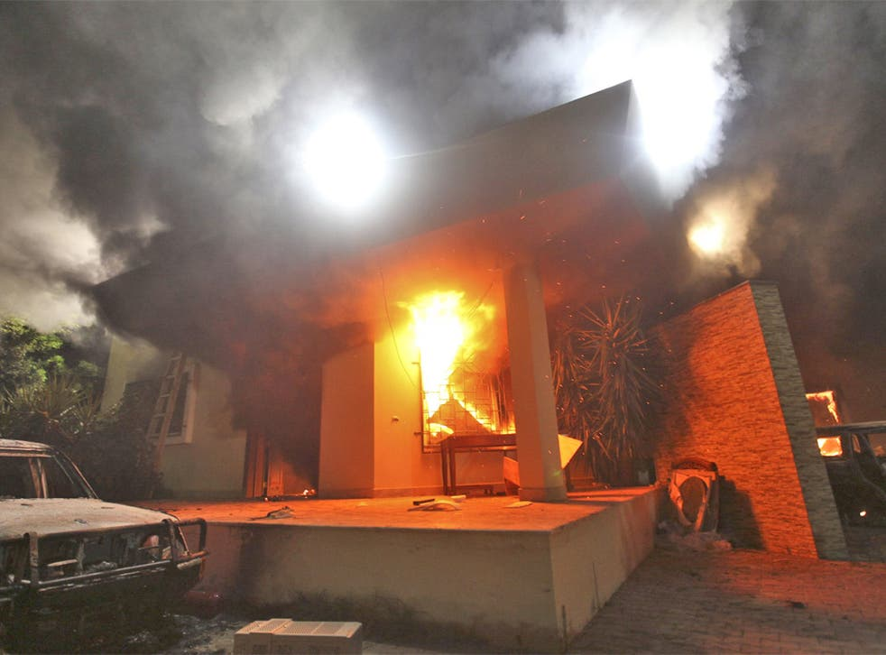 The US embassy ablaze after the attack by protesters