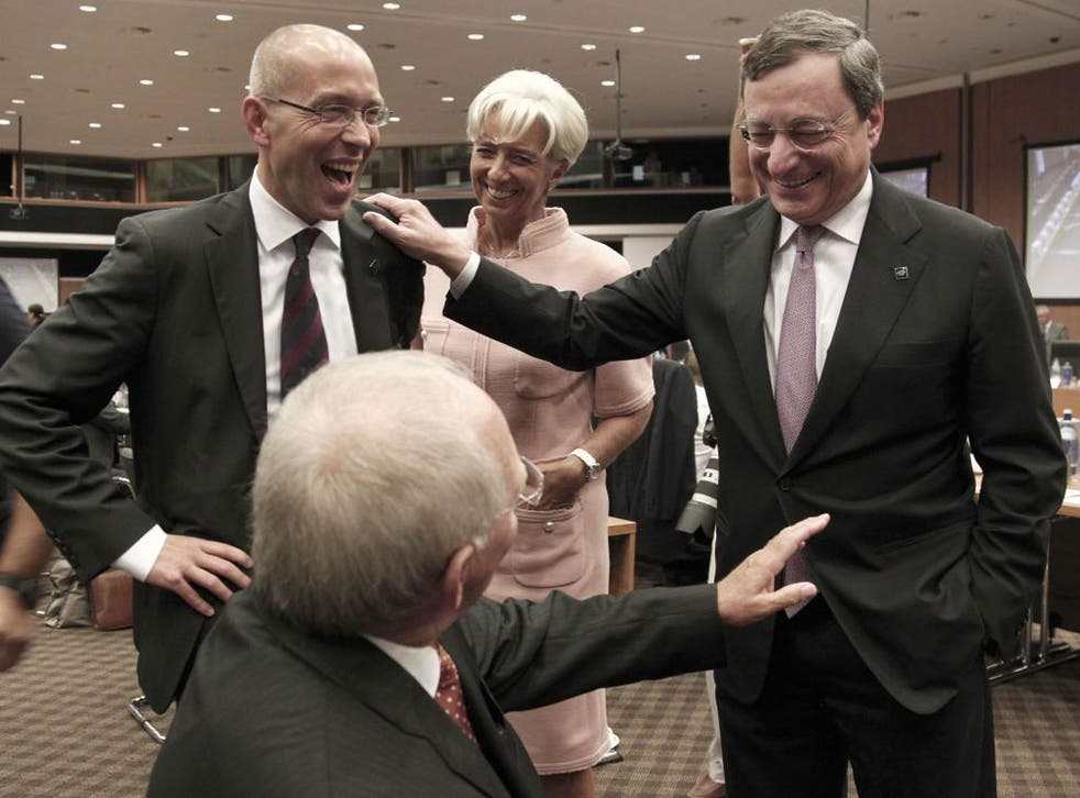 Mario Draghi, right, with German Finance Minister Wolfgang Schäuble, bottom, and IMF managing director Christine Lagarde
