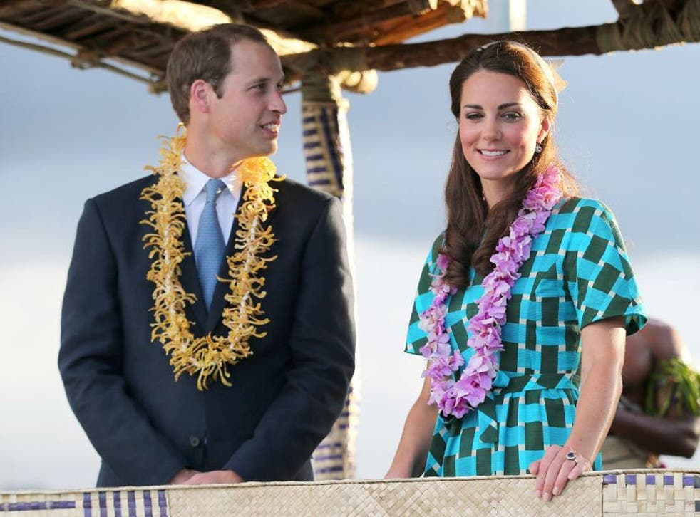 Prince William, Duke of Cambridge and Catherine, Duchess of Cambridge at Honiara International Airport during their Diamond Jubilee tour of the Far East
