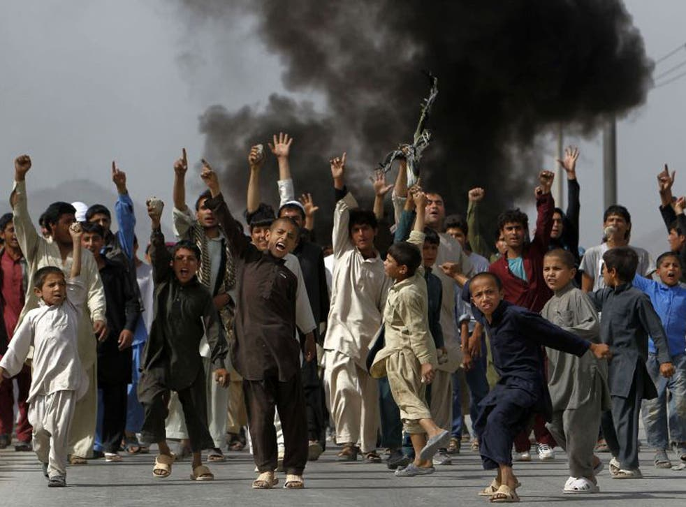 Hundreds gathered in Kabul yesterday in protest at the film The Innocence of Muslims