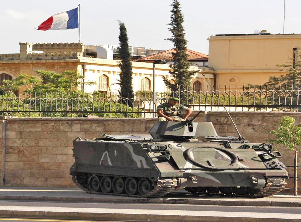 Troops patrol the French embassies in Beirut