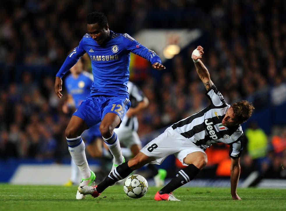 Chelsea midfielder John Obi Mikel in action against Juventus