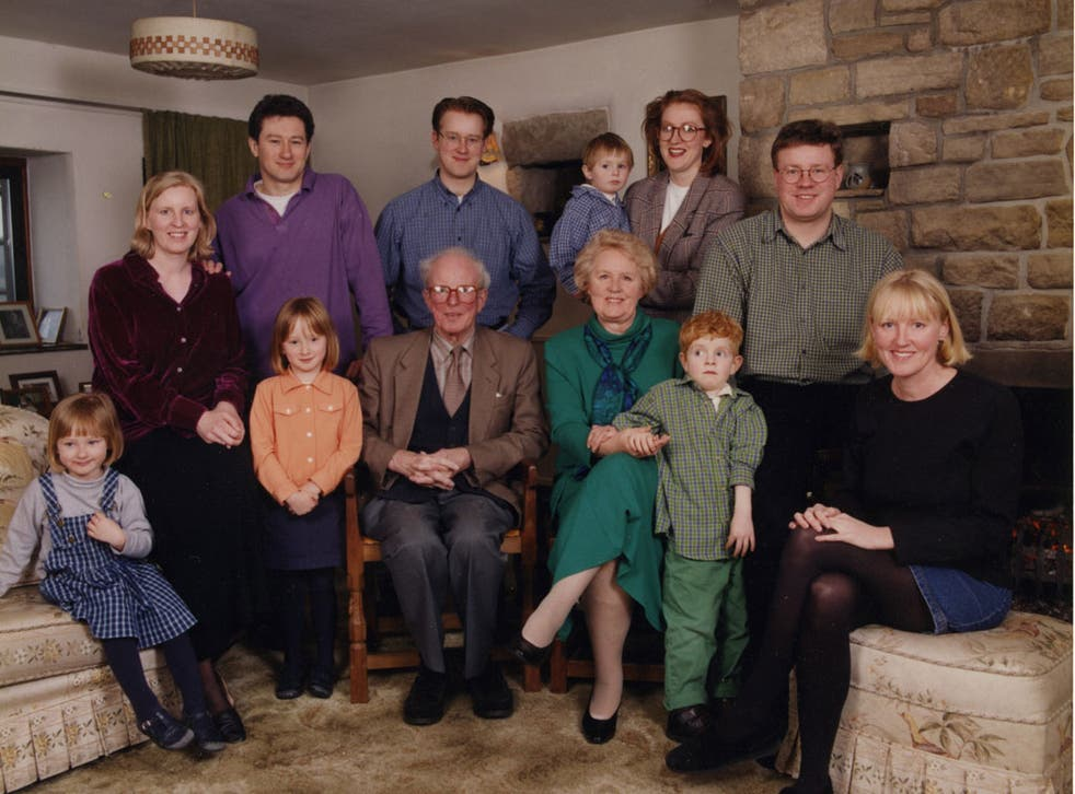 Smile, please: Joanna Moorhead, second from left, and family pose for posterity