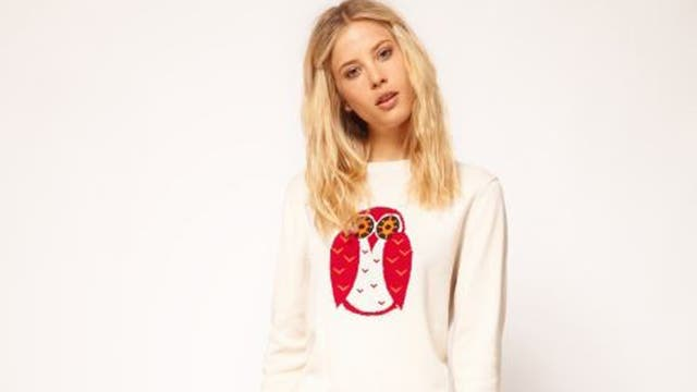 Foxy lady: Owl jumper £30; leather skirt £90, and boots £85, all asos.com
