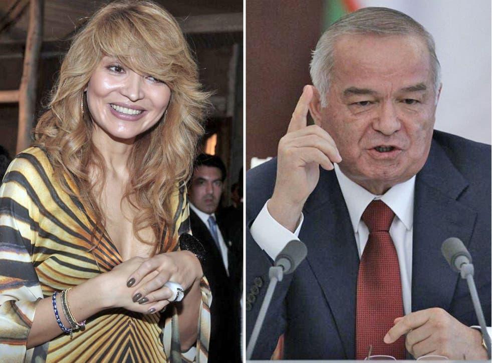 Gulnara Karimova, left, and her father, President Karimov