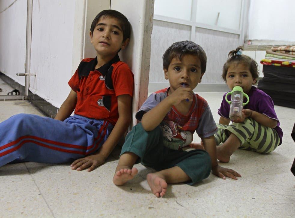 Displaced children take shelter in Damascus
