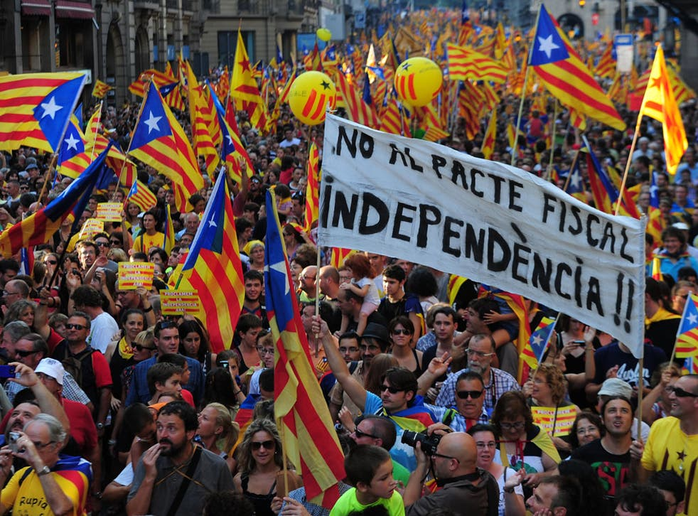 Supporters of independence for Catalonia demonstrate on September 11, 2012 in Barcelona.