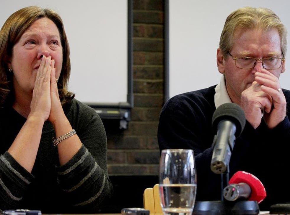 Jeremy Forrest's parents Julie and Jim at the press conference this afternoon
