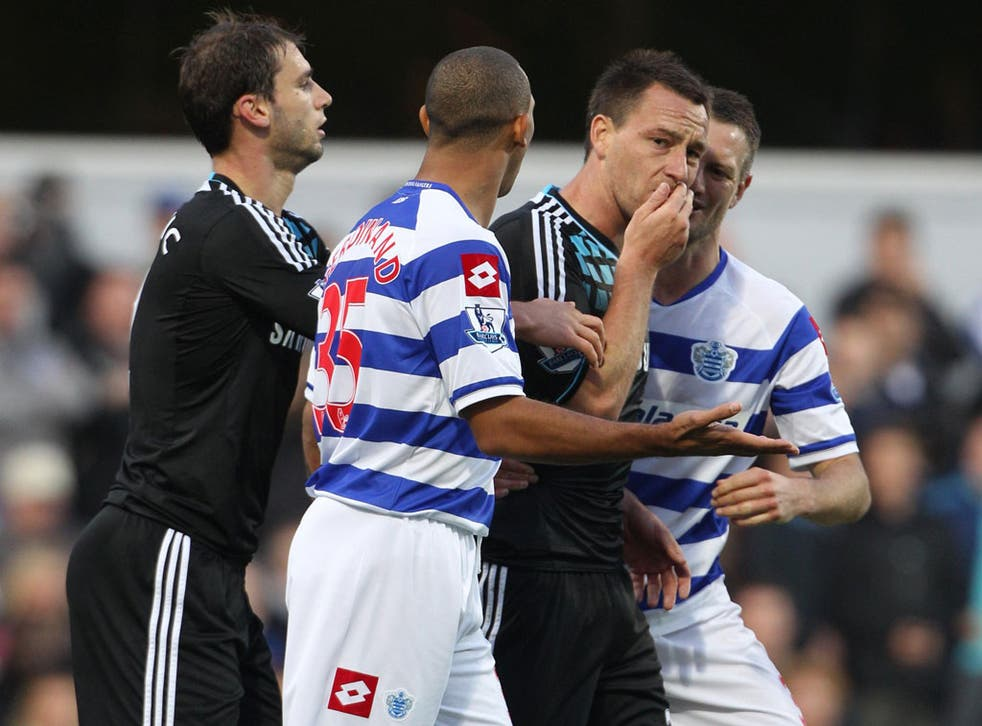 John Terry covers his mouth after his flashpoint with Anton Ferdinand