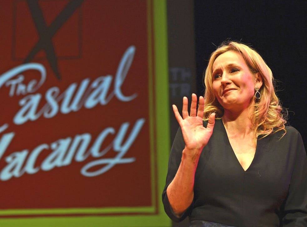 JK Rowling answers questions from fans at the Southbank Centre in London last night