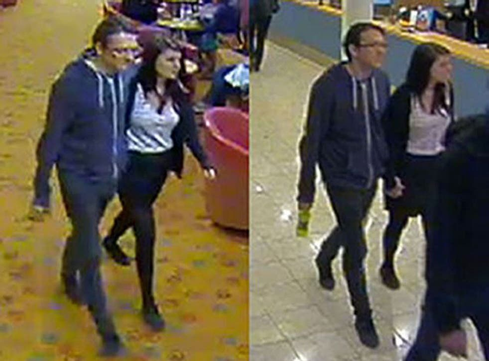 A CCTV image, released by Sussex Police earlier this week, of Jeremy Forrest and Megan Stammers on a ferry from Dover to Calais