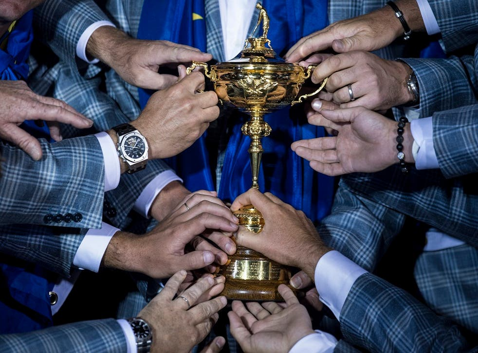 The victorious European team get a feel for the Ryder Cup