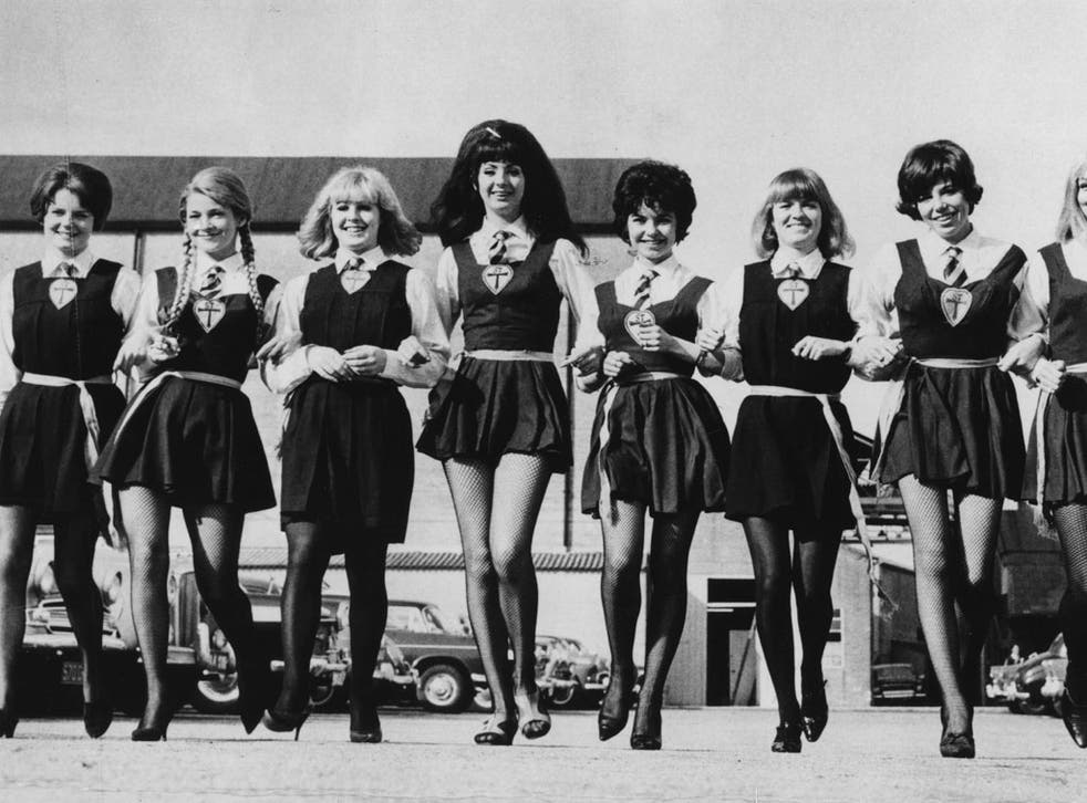 A group of actresses dressed in school girl uniforms for a 'St Trinians' film.