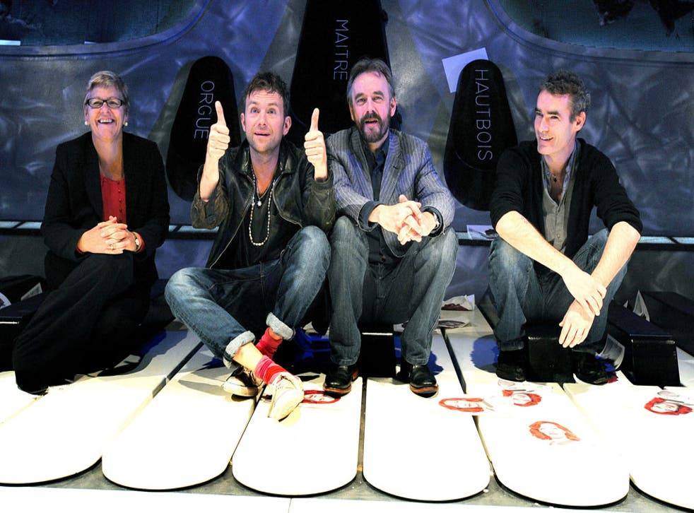 (Left to right) Chief Executive of the ENO Loretta Tomasi, Blur's Damon Albarn, Artistic Director of the ENO John Berry and Rufus Norris talk about Undress for the Opera, which aims to encourage a younger, less elitist audience to visit the English Nation