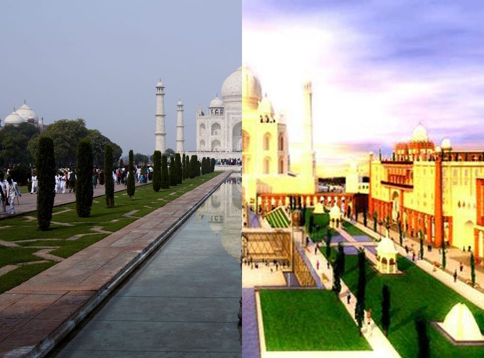 The Taj Mahal in Agra, India,- and an artist's impression, right, of the Dubai version
