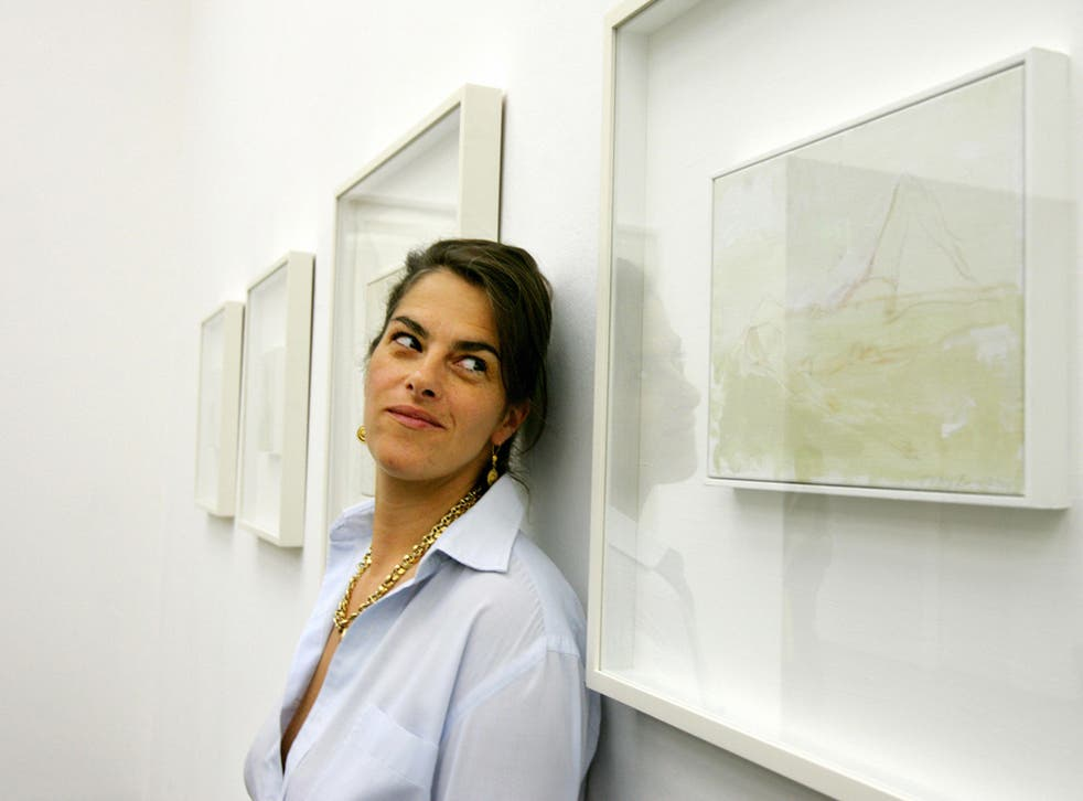 Tracey Emin with her work at White Cube, Hoxton in 2005