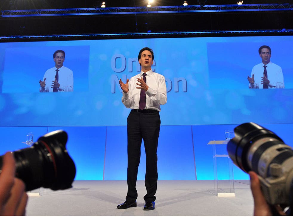 British Opposition Labour Party Leader Ed Miliband takes part in a Questions and Answers discussion on the fourth day of the annual Labour Party Conference in Manchester, north-west England, on October 3, 2012.