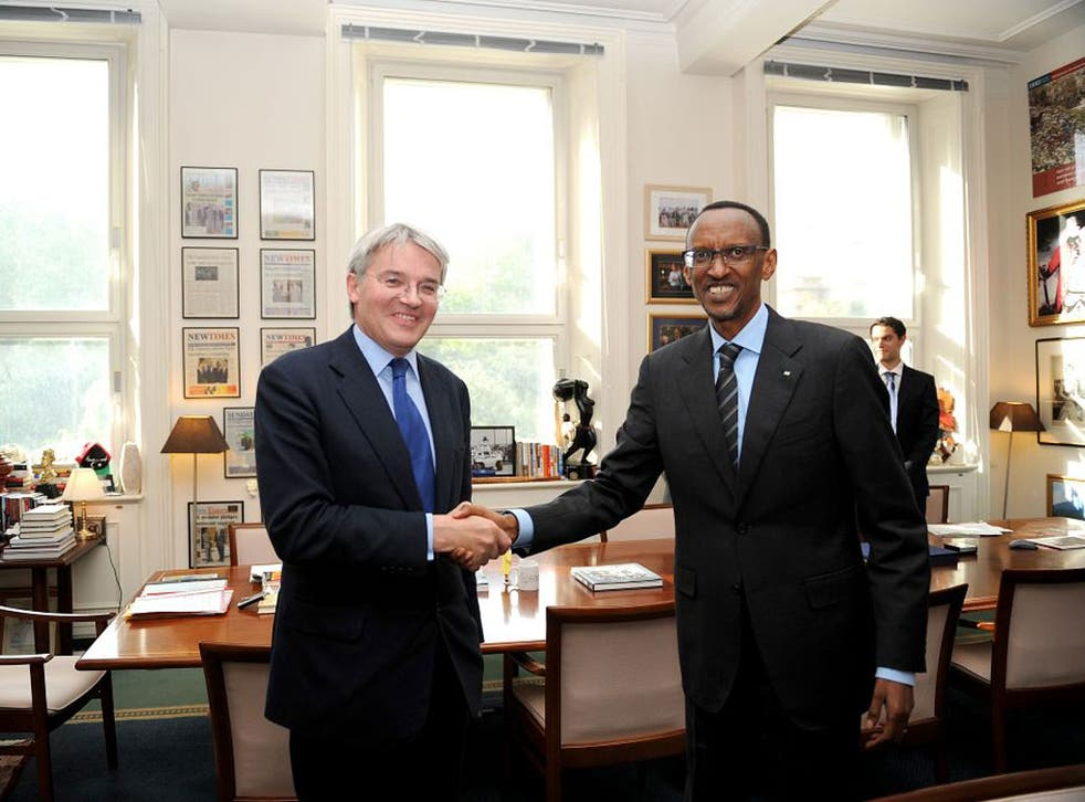 Andrew Mitchell with Paul Kagame in Rwanda. Kagame's regime is accused of funding a brutal rebellion in Congo, right