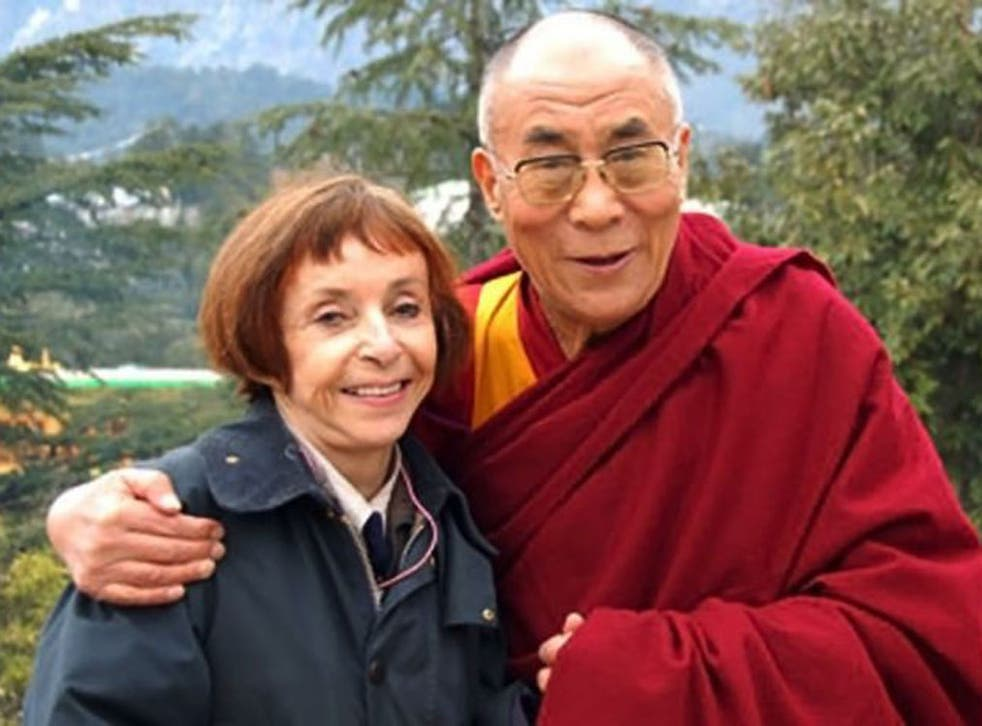 Kewley with the Dalai Lama; after she interviewed him in 1975 they became lifelong friends
