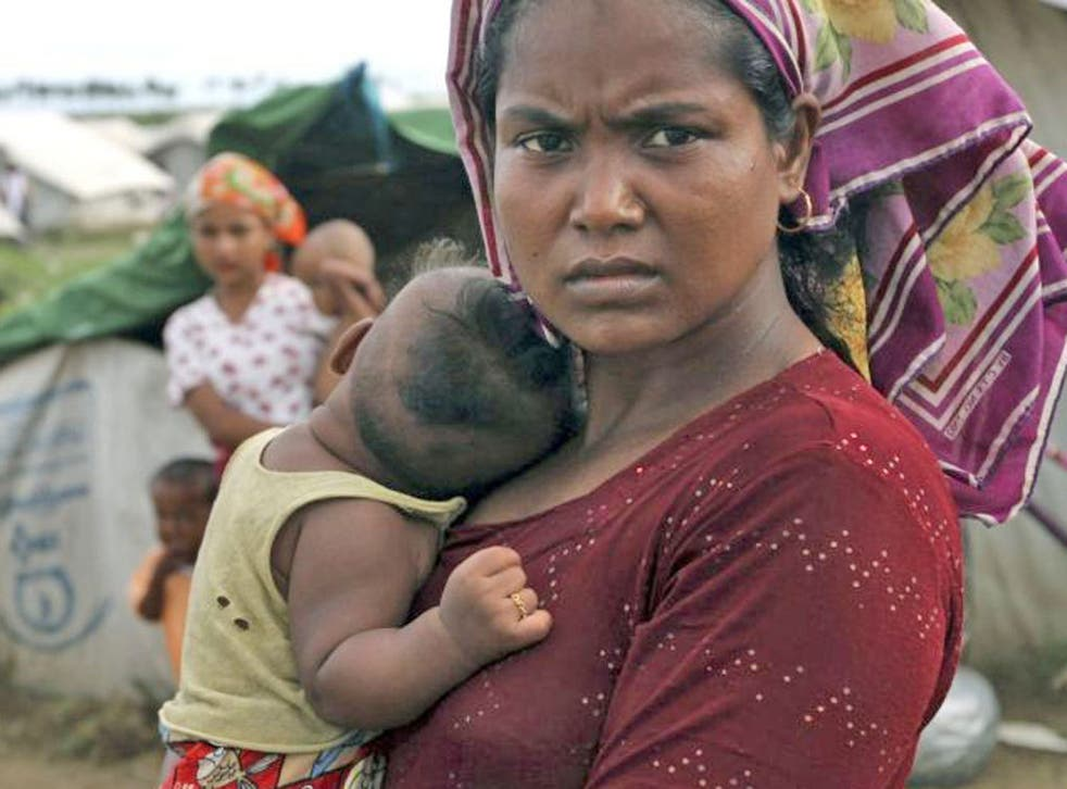 Rohingya Muslims at a refugee camp in Sittwe, western Burma