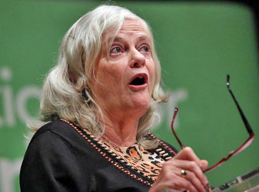 Ann Widdecombe applauds during the anti-gay marriage rally at the Tory conference