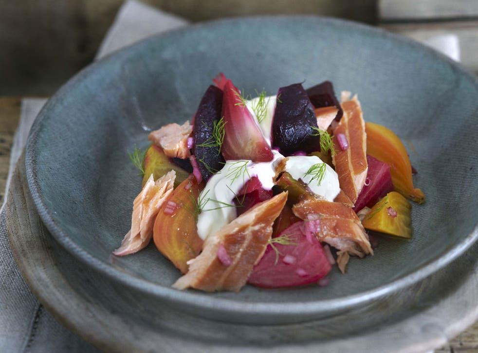 Hot-smoked salmon, beetroot salad and horseradish crème fraîche, by Raymond Blanc