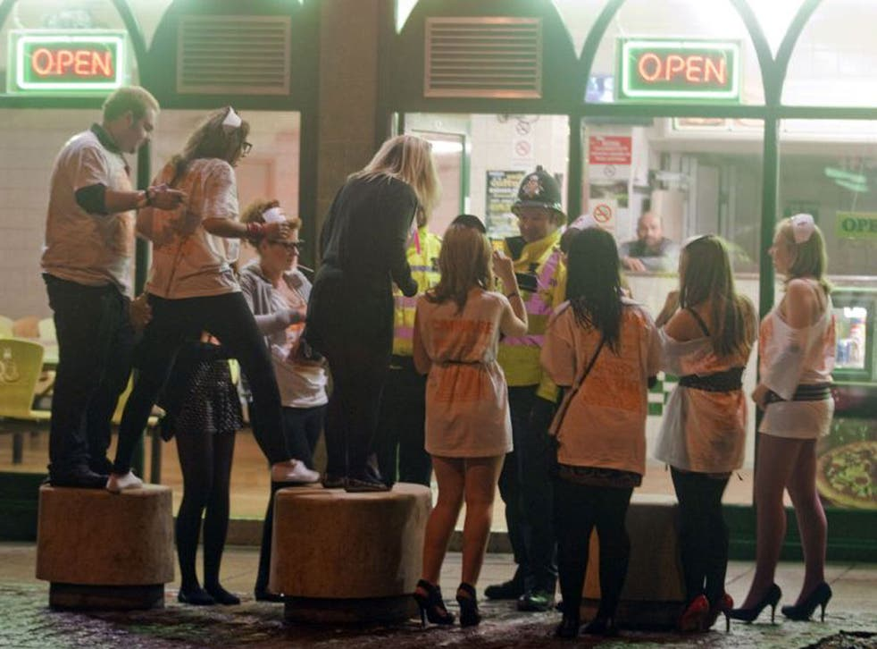 A group of female students out on the town for freshers' week