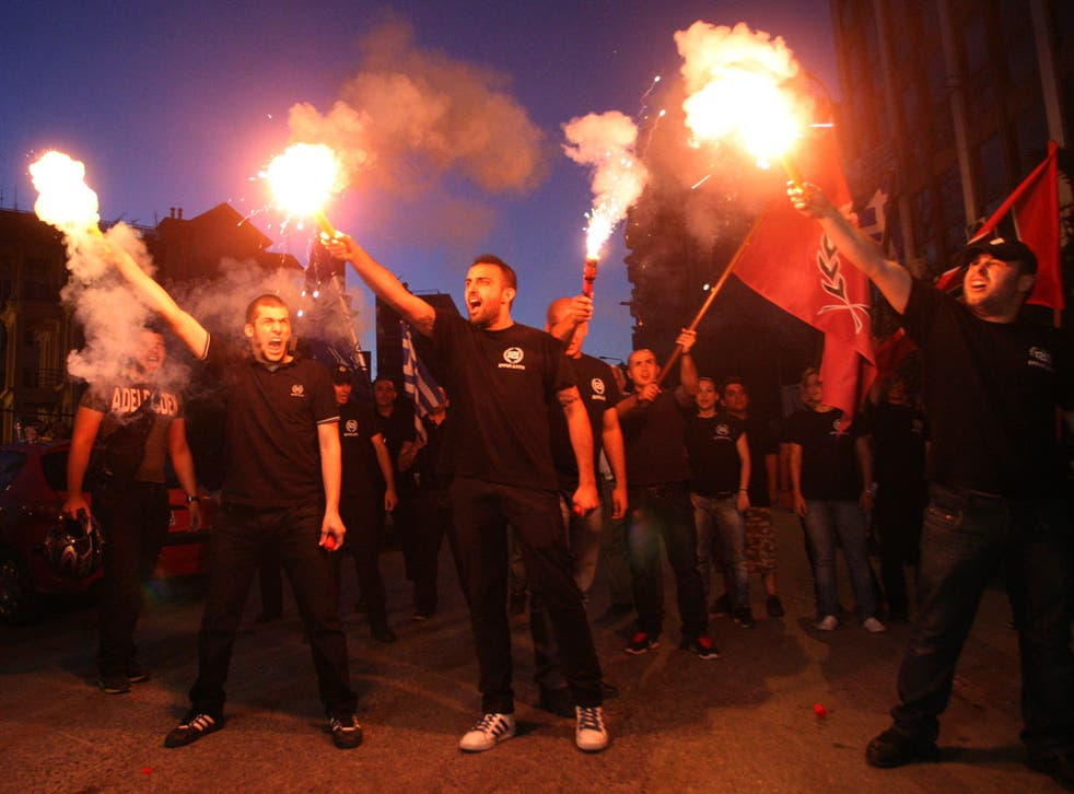 Members of the Greek extreme-right ultra nationalist party Golden Dawn