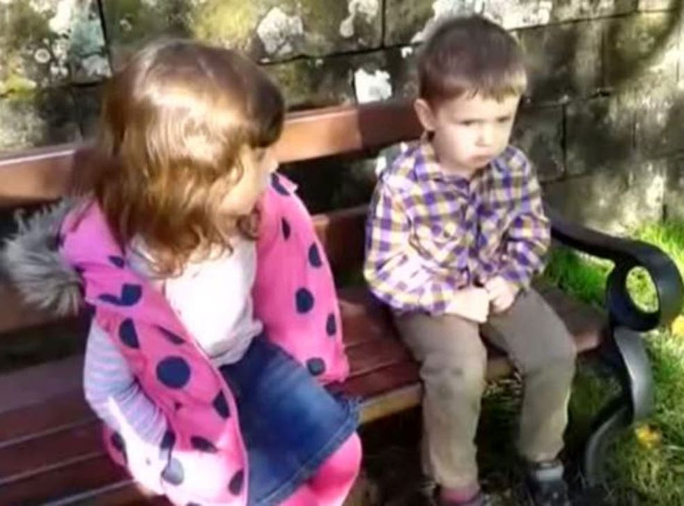 A minute-long video of a four-year-old girl telling off her younger brother for spitting has gone viral
