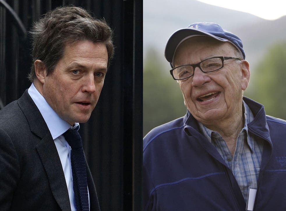Rupert Murdoch has expressed regret for his personal comments about media campaigner Hugh Grant