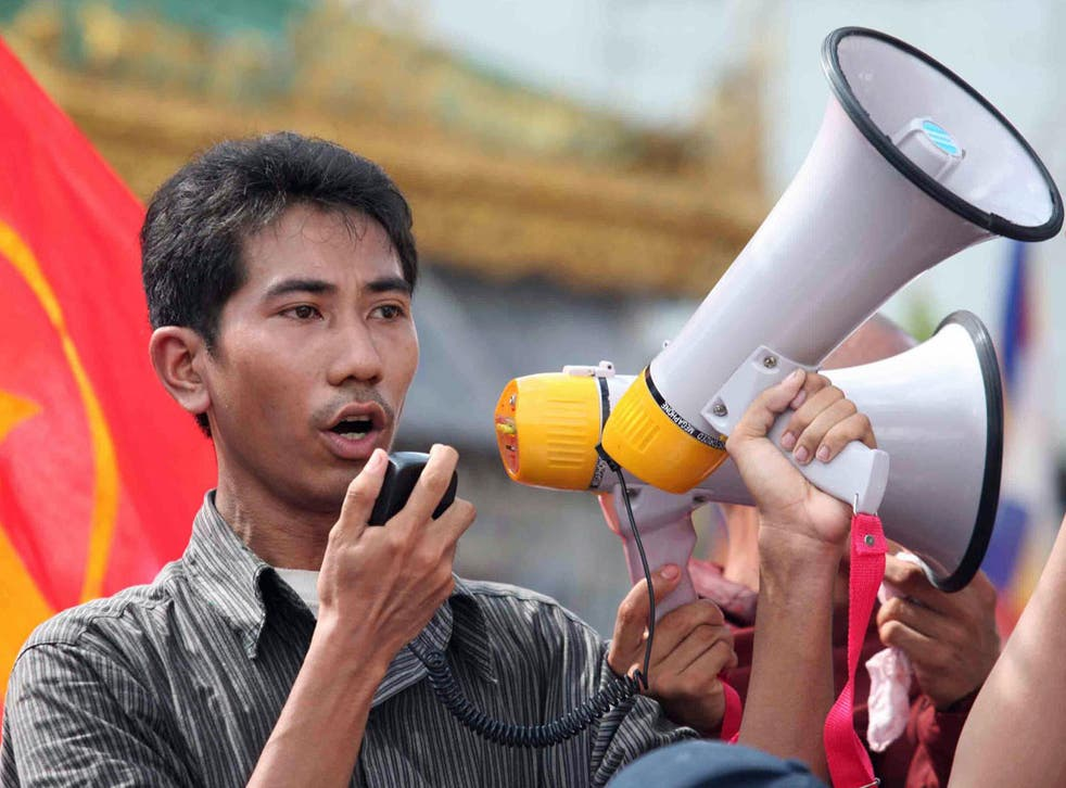 A man speaking to the crowd in downtown Yangon, in 2007, despite stern warnings from Myanmar's junta against the anti-government protests