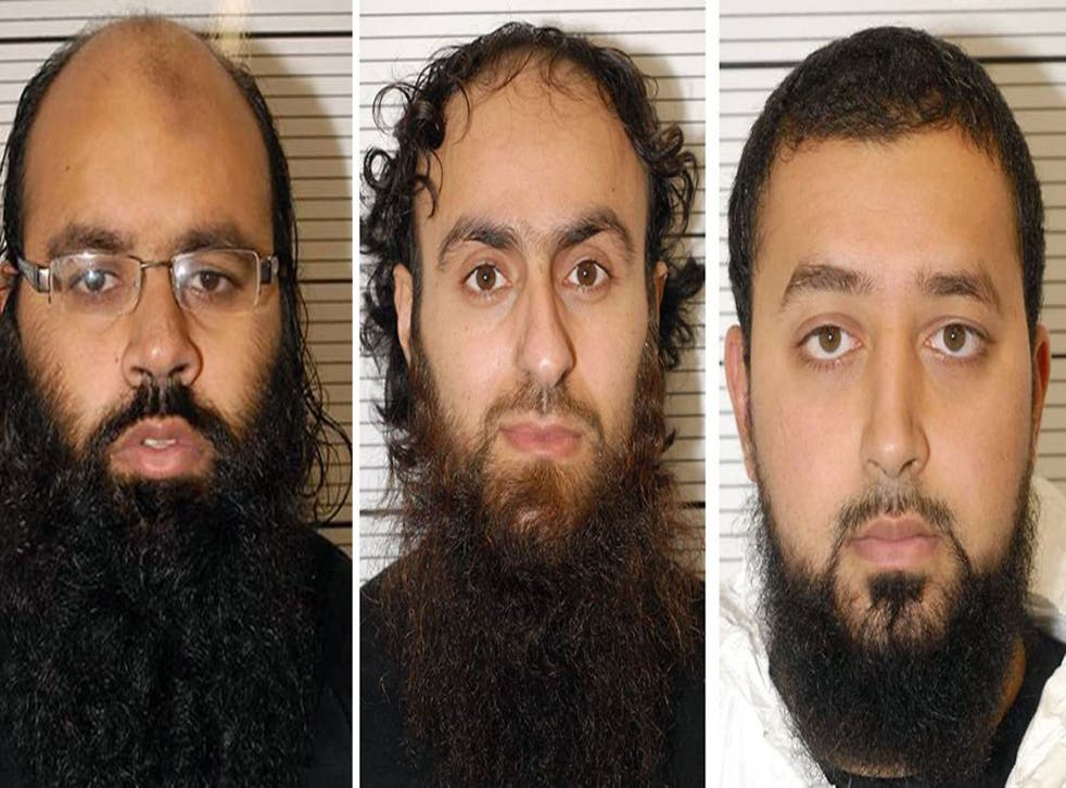 Irfan Naseer, 31, Irfan Khalid and Ashik Ali, both 27, who are accused of being 'central figures' in the extremist plot