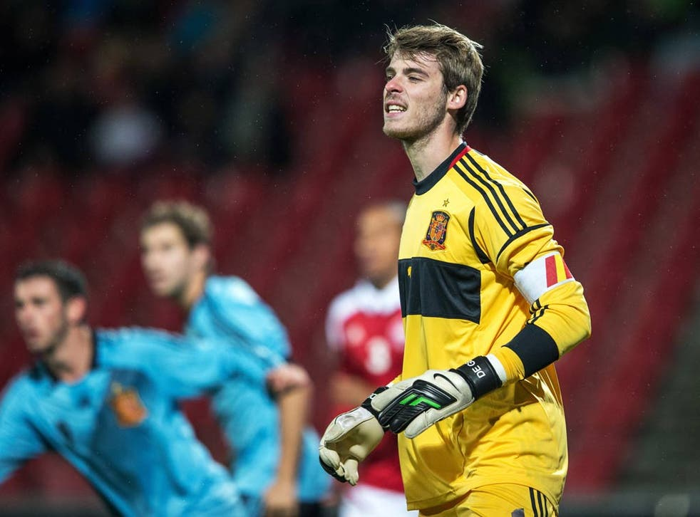 Manchester United goalkeeper David De Gea in action for the Spain under-21s