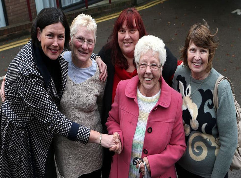 Current and former Birmingham Council workers and supporter, (left to right), Maggie Roche, whose mother worked for the city council and workers Pam Sanders, Susan Clare, Joan Clulow and Mary Roche after today's Supreme Court judgement