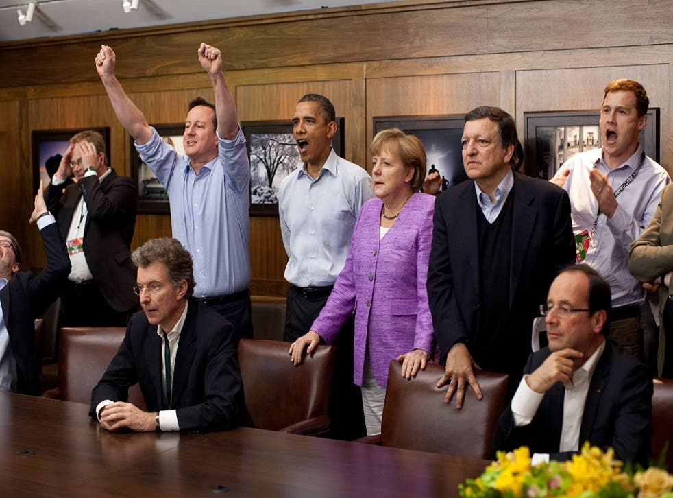 Cameron, Merkel, Obama and Hollande watch the 2012 Champions League Final