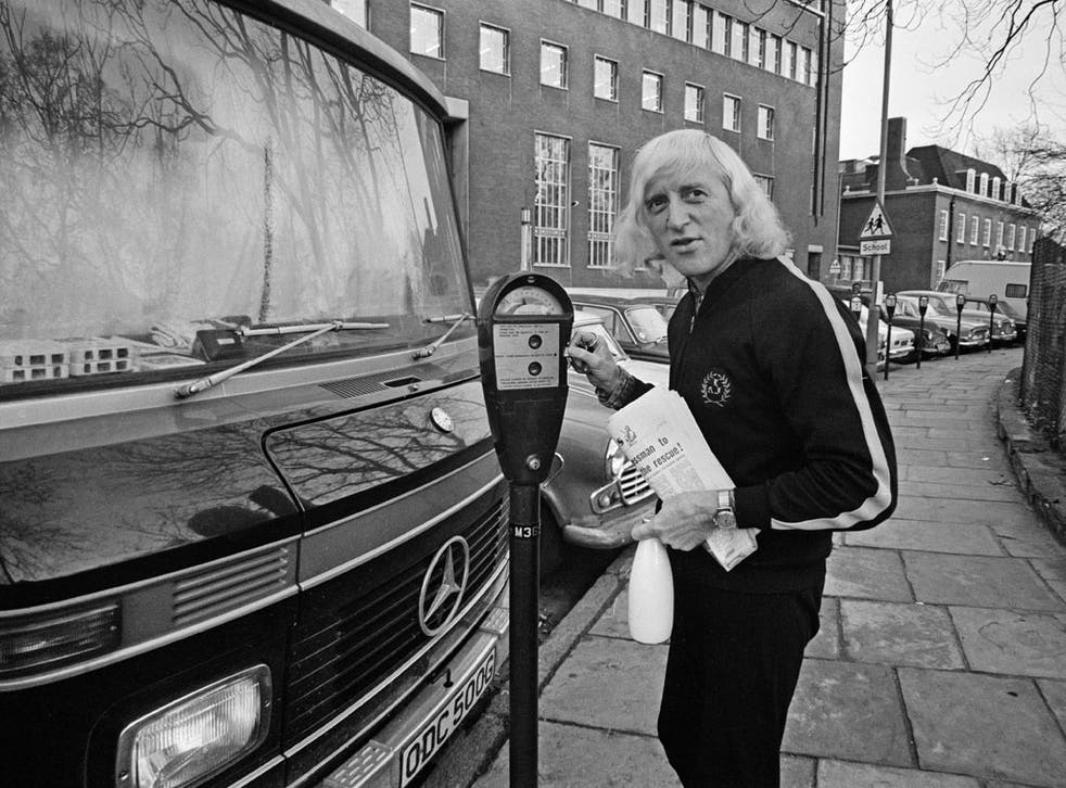 Jimmy Savile outside his motor home in 1969