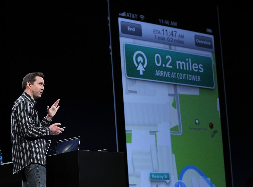 Scott Forstall demonstrating the new map application during the 2012 Apple WWDC keynote address in San Francisco in June 2012