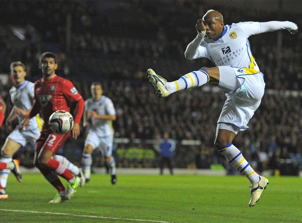 El-Hadji Diouf tries a shot at the Southampton goal at Elland Road