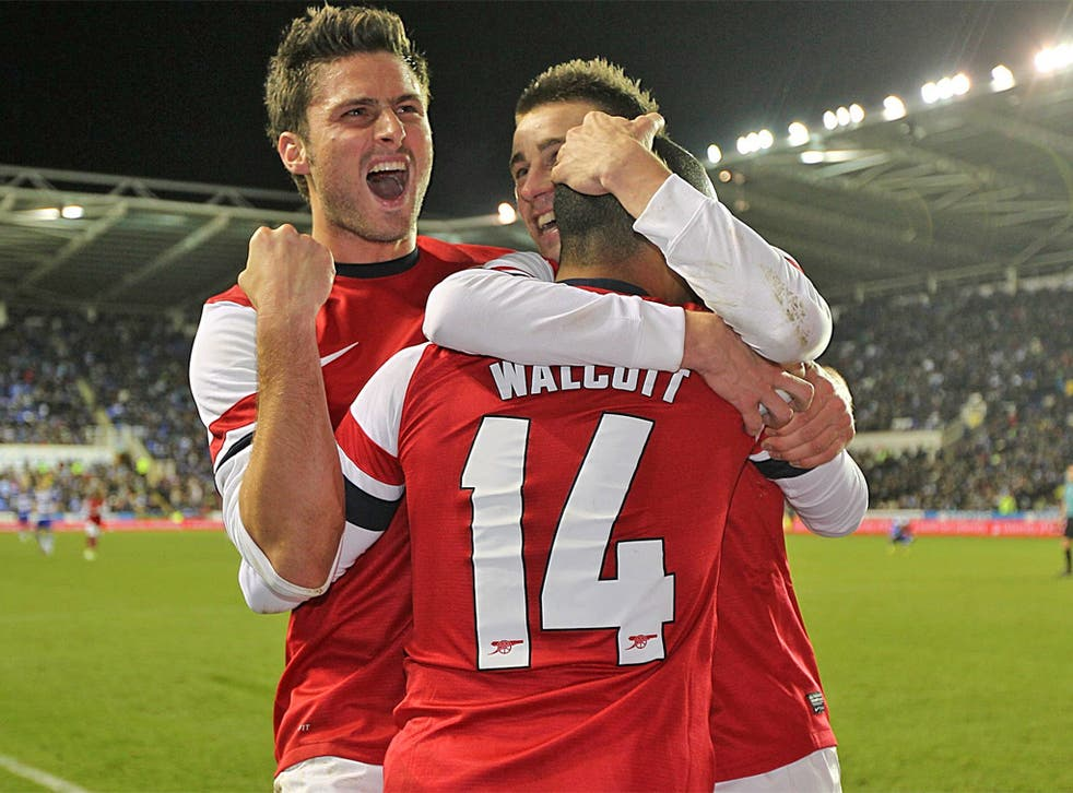 Arsenal players celebrate winning an unmissable - well, almost - cup game