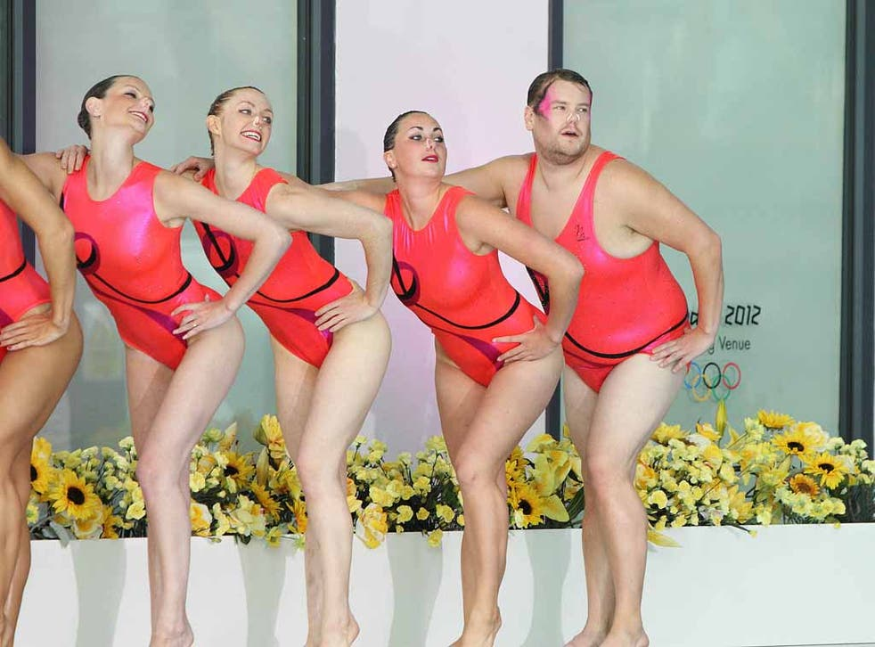 James Corden trying his hand at synchronised swimming for his BskyB sports quiz show, A League of Their Own.