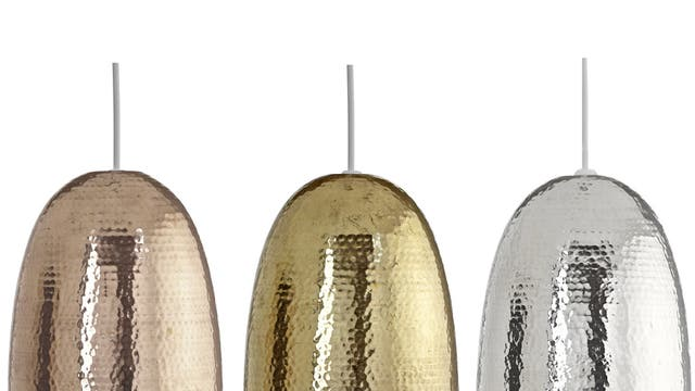 1. If I had a hammer   These Barock hammered metallic shades from B&Q are available in brass, copper or nickel. Hang individually or mix and match for a truly decadent look. £29.98 each, diy.com