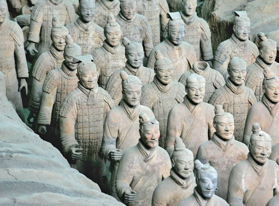 The Terracotta Army discovered in 1974 near Xi'an