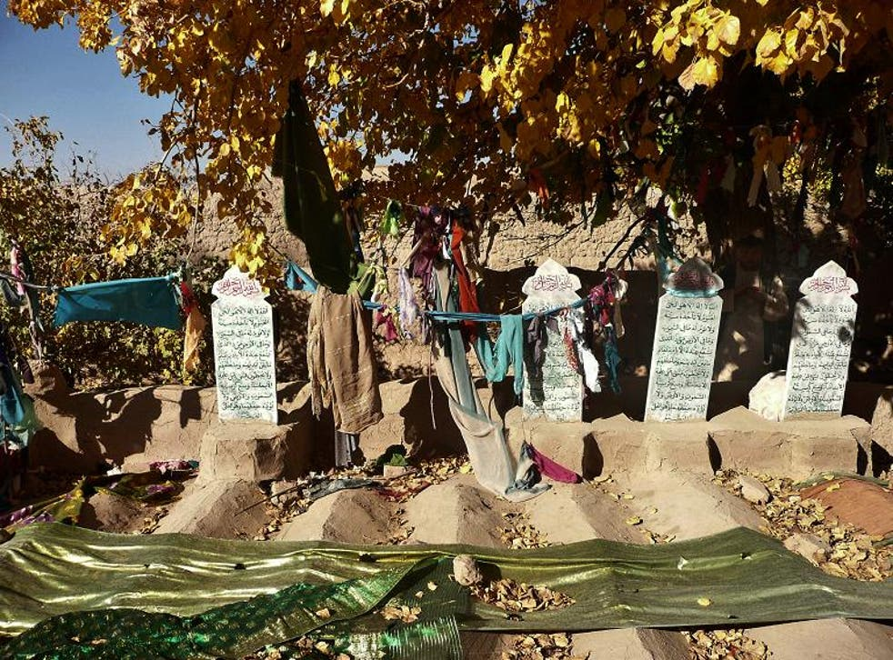 Grave stones of some of the 16 Afghan villagers who were killed in the March massacre are pictured in the grave-yard in Panjwai district of Kandahar province on November 4, 2012. Staff Sergeant Robert Bales accused of killing 16 Afghan villagers is on tri