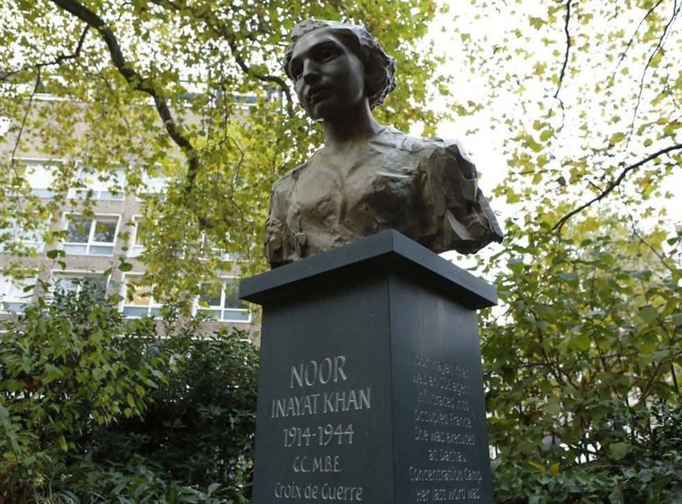 A statue of Noor Inayat Khan after being unveiled by Britain's Princess Anne