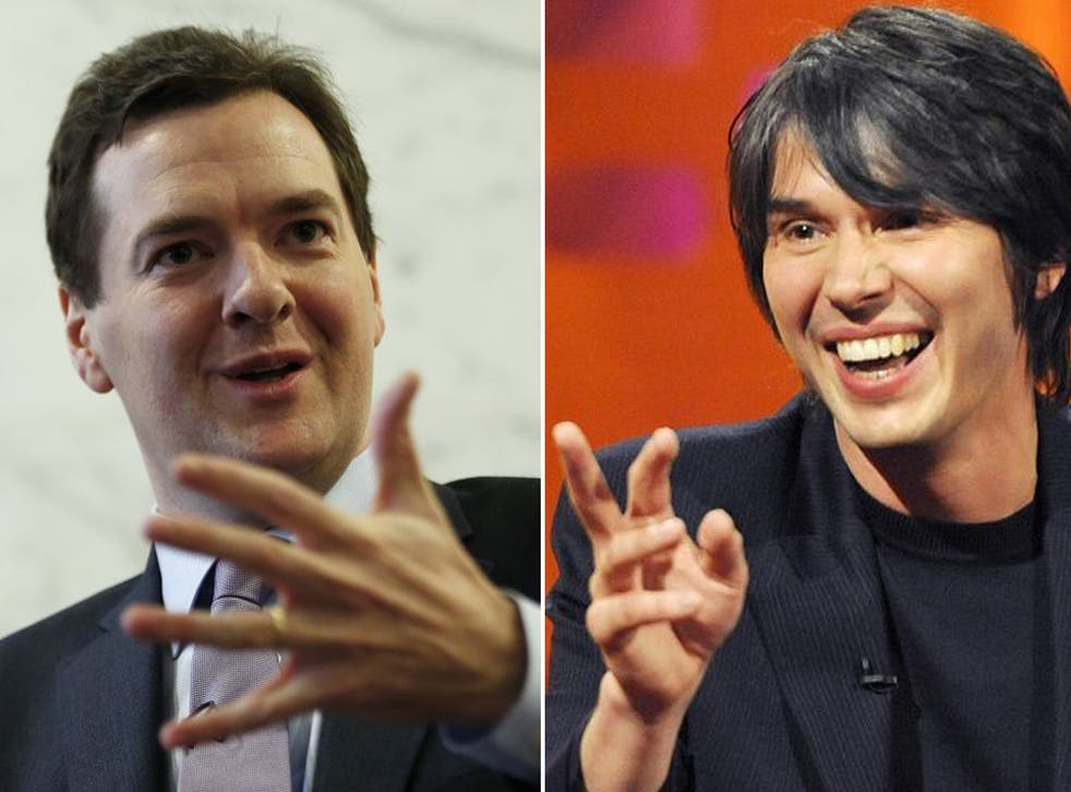 George Osborne, left, refused to be drawn on whether he agrees with Professor Cox, right, who has argued for a doubling of the £4.6bn science budget