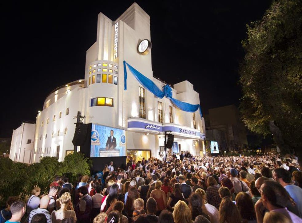 The Art Deco Alhambra complex is the Church of Scientology's first public Middle East centre. Below, the hi-tech interior
